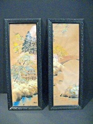 Antique Vintage original Chinese Asian Paintings pair old Rice Paper Paintings