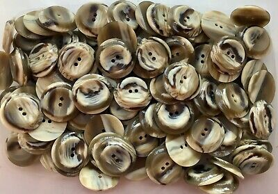 Large 28mm 44L Light Cream Pearlescent 2 Hole Jacket Craft Polished Buttons Q652