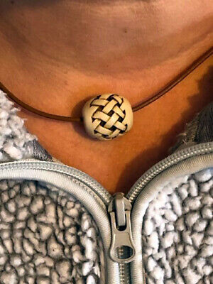 Naked and Afraid TV Show Marble Bead BRN Leather Cord Reproduction Necklace