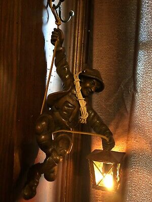 "Antique Black Forest Wood Carved Swiss Mountian Climber Figure 16"" Hanging lamp"