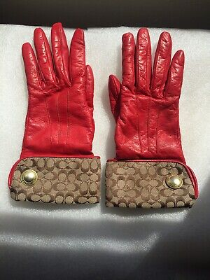 Vintage COACH Women's Red Leather Gloves Classic Brass Snap Cashmere Interior