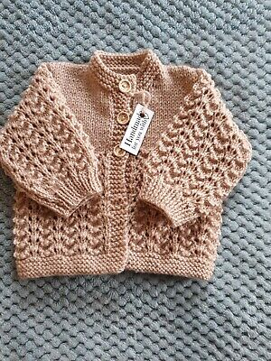 Brand new hand knitted baby cardigans 0-3 months in caramel colour