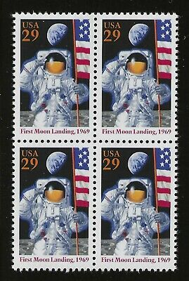 Apollo 11 - First Moon Landing - Block Of 4 U.s. Postage Stamps - Mint Condition