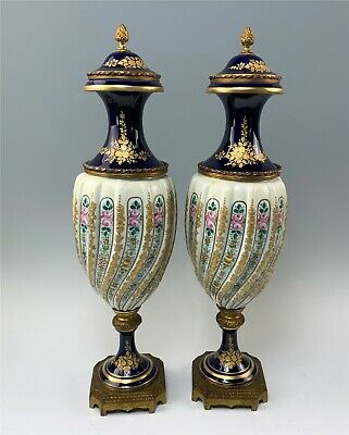 Pair Antique French Sevres Lidded Urns HP Tiny Flowers on White, Cobalt, Gold