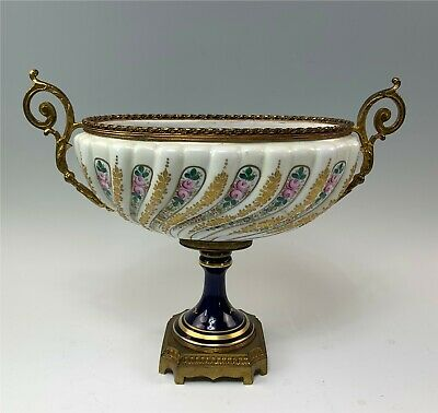 Antique French Sevres Gilt Bronze Large Compote Dish Tiny HP Flowers, Cobalt