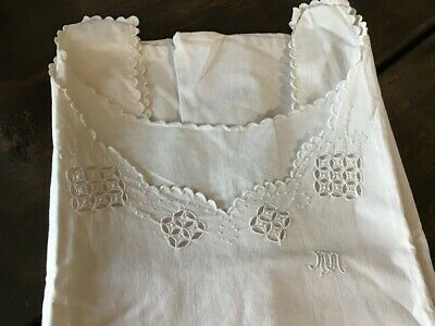 Vintage French cotton embroidered long nightgown chemise smock shirt dress daisy