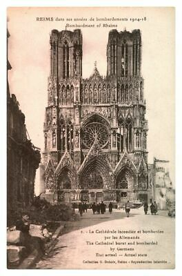 antique RHEIMS  during its Bombarded years THE CATHEDRAL burnt and bombarded by Germans 1914-1918