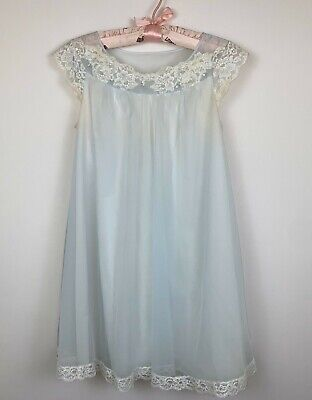 Vinatge Shadowline Nightgown Baby Blue Nylon Lace Neckline Size Small Youth