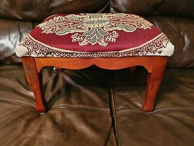 "Vintage Embroidered Pine Squat Foot Stool 15.5"" X 12"" X 9.5"""