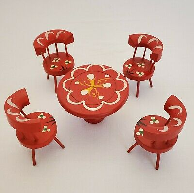 Vintage Wooden Doll Dollhouse Hand Painted Red Wooden Table & Chairs 5 PCS