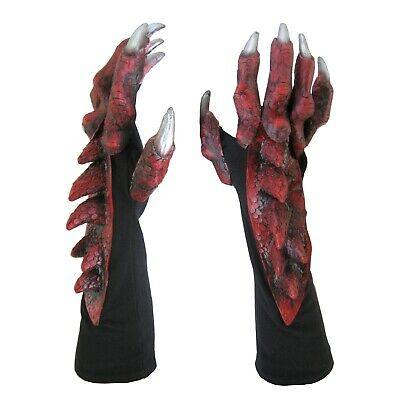 Red Dragon Claws Hands Adult Halloween Costume Gloves