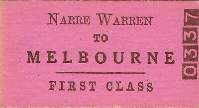Railway tickets VR Narre Warren to Melbourne first class single unused