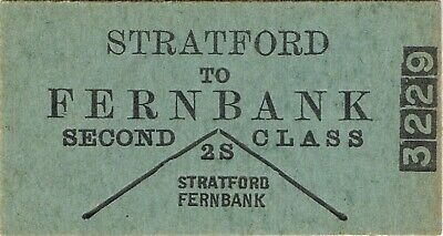 Railway tickets VR Stratford to Fernbank down second class single unused