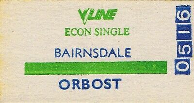 Railway tickets V-line Bairnsdale to Orbost one class single unused