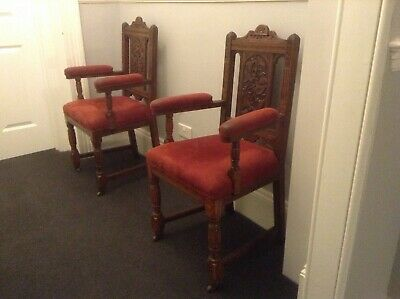 Pair Antique Oak Carved Chairs arts and crafts. (S126)
