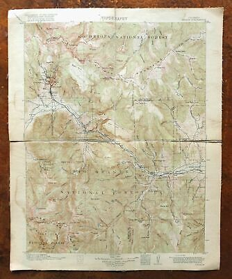 1916 Creede Colorado Antique USGS Topo Map South Fork 30-minute Topographical