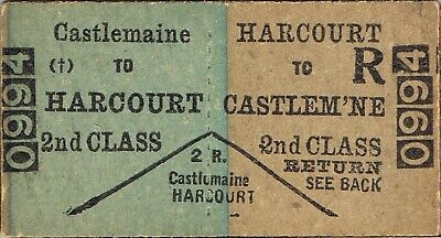 Railway ticket VR Castlemaine to Harcourt down second class return unused