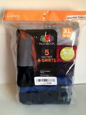 Fruit of the Loom Men's Multipack (5) A-Shirt Tank Tops Size XL NWT