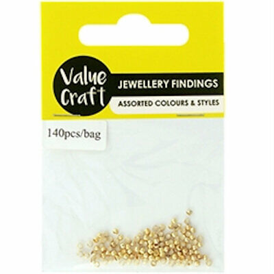 Crimp Beads Round Gold 2mm Pack of 140 Jewellery Craft