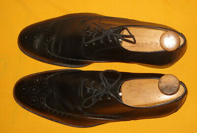 Saks Fifth Avenue Black Made In Italy Wing Tip Genuine Leather Shoes Size 12M.