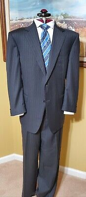 CANALI Charcoal 2 Btn Suit w/Blue Stripes Wool  46R