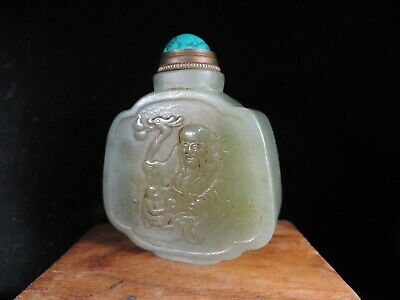 Chinese Nature Hetian Jade Snuff Bottle Hand-carved  Snuff Vial Cooper Spoon
