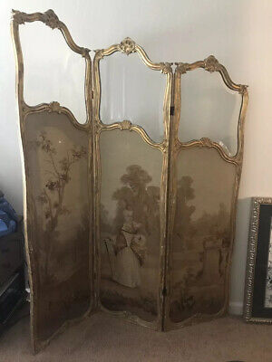 18c Furniture Tapestry Divider 3 Panel Beveled Glass French Non Painting Rare 17