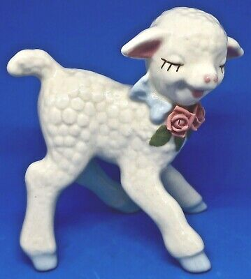 """Adorable Vintage 1940's Cordelia China 4.5"""" Sheep Lamb w Applied Pink Flowers"""