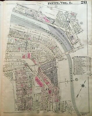 1923 Pittsburgh Pa Polish Hill Municipal Hospital Lisbon St-Chopin St Atlas Map