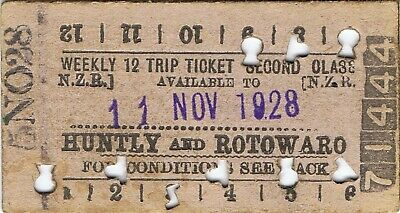 Railway tickets NZR Huntly and Rotowaro second class twelve trip 1928