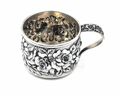 Antique Steiff Rose Repousse Baby Christening Cup Mug Fancy Sterling Silver 129