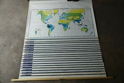 WORLD maps 18 Layers! minerals agricultural food home school Finch wall roll