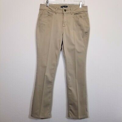RIDERS by LEE Womens Beige Khaki Pants Size 12P (28 1/2 Inseam) Stretch Slacks