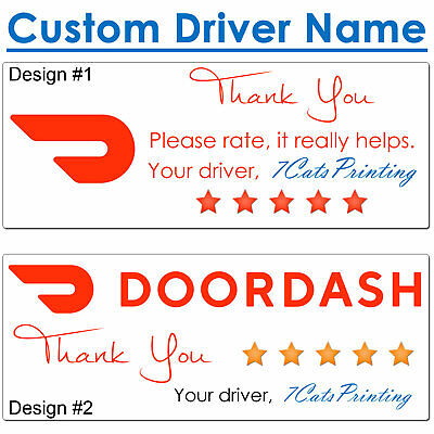 30 for DoorDash Delivery Driver Bag Seal Thank You Stickers CUSTOM NAME FREESHIP
