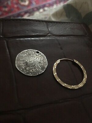 1875 silver pfennig coin pendant and gold earring unmarked , mixed lot