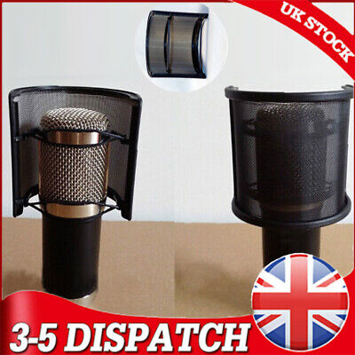 Double Layer Recording Microphone Windscreen Pop Filter Mask Shield Black