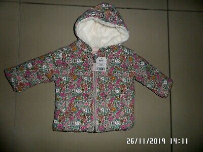 New With Tags Next Baby Girls Floral Padded Coat 6-9 Months
