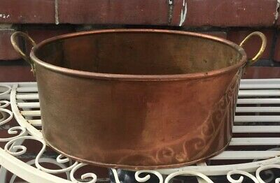 Antique Early 19th Century Copper & Brass Jam Pan Cooking Pot Two Handles