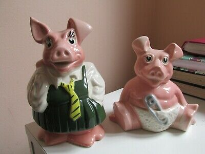 Natwest Wade Pig Piggy Bank, Annabel, and Baby Woody both WITH Stoppers