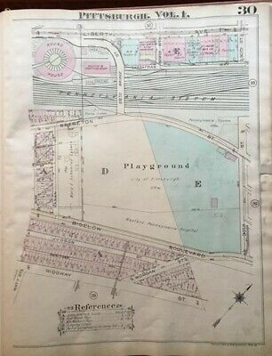1923 Pittsburgh Pa Ridgway St-Allegheny River Western Penn Hospital Atlas Map