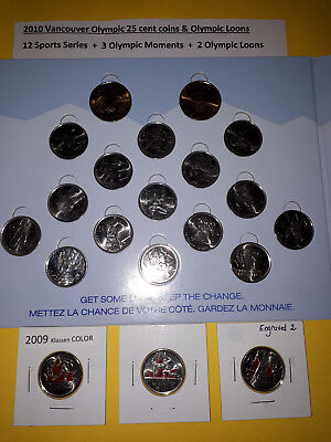 2010 Vancouver Olympic Coins 2007-2010 on board + 3 Coloured 25 cent on SALE