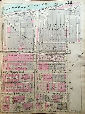 1923 Pittsburgh Pa Crucible & Carbon Steel Co. 30Th St-32Nd St Atlas Map