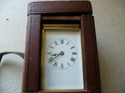 Vintage Hands-made Carriage Clock with Leather Case and Key