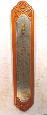 Carved Wood Wall Plaque With Embossed Brass Plate To Hang Swinger Mystery Clock