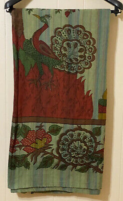 Rectangle Tablecloth Peacock Floral Print Greens Burgundy Red Gold Blue 56 x 80