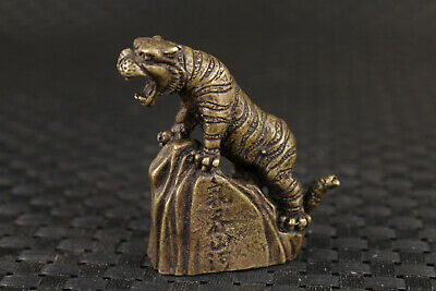 RARE chinese old bronze hand casting up tiger statue Noble gift