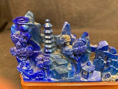 "Antique Qing Chinese carved Lapis lazuli landscape 6"" wide GREAT COLOR 4.75""tall"