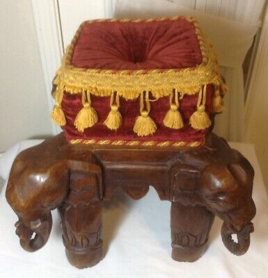 Beautiful Vintage Hand Carved Wood Elephants Foot Stool w/Red Velvet Pillow Top