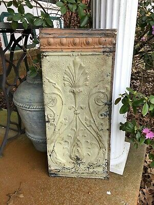 Vintage Salvaged Ceiling Tin Green  28 X 12