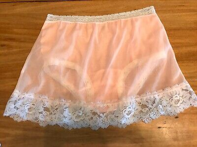 Vintage Peach Pink Skirted Painties Undies White Lace Sheer Sexy Pinup